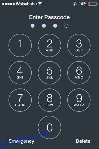 ios 7 entrada de contraseña habilitada con pantalla de bloqueo