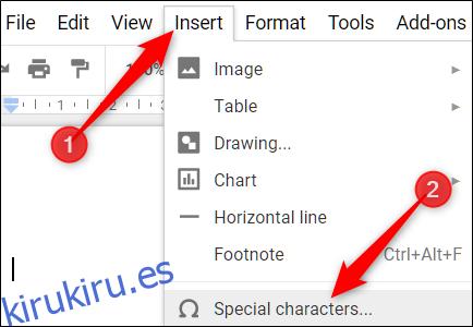 Cómo crear guiones, guiones largos y guiones em en Google Docs