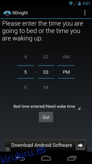 90Night gestiona los ciclos de sueño, establece la hora de acostarse y las llamadas para despertarse