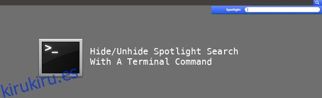 Ocultar / mostrar la búsqueda de Spotlight desde la barra de menú en OS X