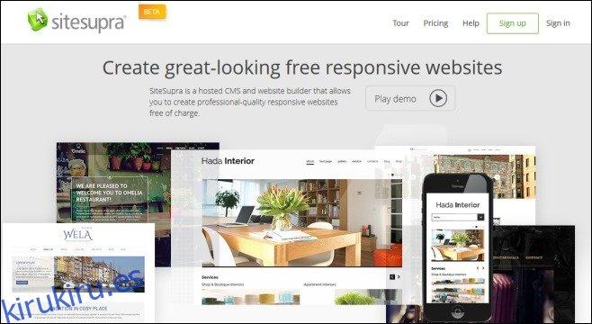 Cree sitios web receptivos con SiteSupra Content Management System