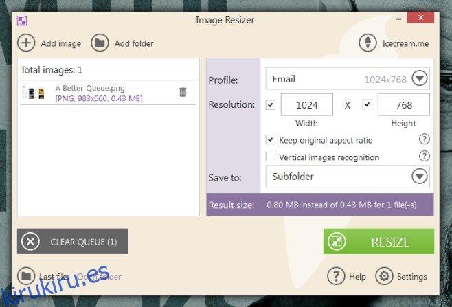Icecream Image Resizer es una utilidad de cambio de tamaño de imagen con ajustes preestablecidos de tamaño