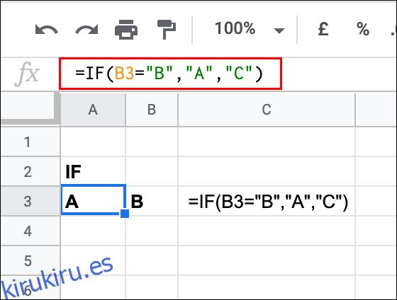 Cómo utilizar la función IF de Google Sheets