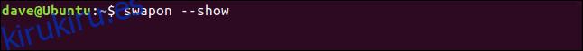 swapon: muestra en una ventana de terminal