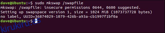 sudo mkswap / swapfile en una ventana de terminal