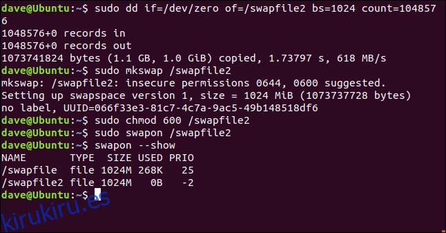 sudo dd if = / dev / zero / of = / swapfile2 bs = 1024 count = 104857 en una ventana de terminal