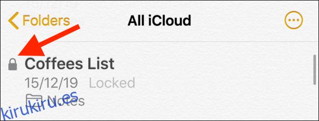 Localiza el botón de bloqueo junto a una nota