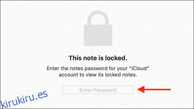 Ingrese la contraseña de Apple Notes y luego presione Enter