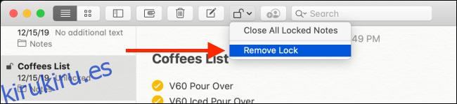 Haga clic en el botón Eliminar bloqueo