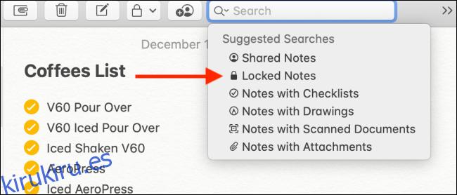 Elija la opción Notas bloqueadas en la búsqueda