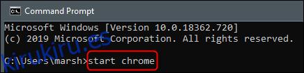 iniciar comando de Chrome