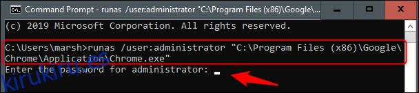 Abra Chrome como administrador