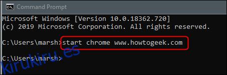 Inicie un sitio web en Chrome desde el símbolo del sistema