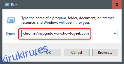 sitio web de incógnito de Chrome desde ejecutar