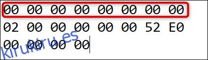 Los primeros 16 ceros en el encabezado.