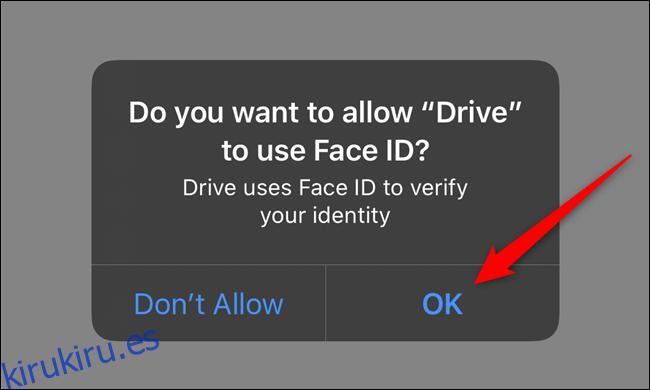 Dar permiso a Google Drive para acceder a Face ID o Touch ID