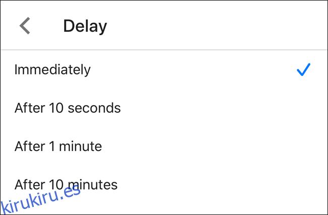 Elija un período de retraso