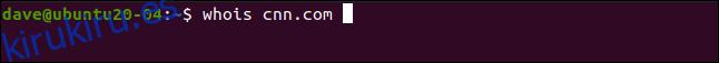 whois cnn.com en una ventana de terminal