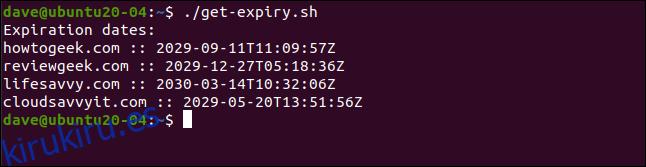 ./get-expiry.sh en una ventana de terminal.