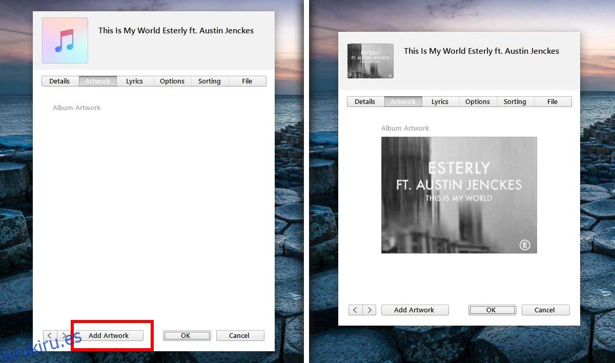 Cómo agregar manualmente la carátula del álbum en iTunes