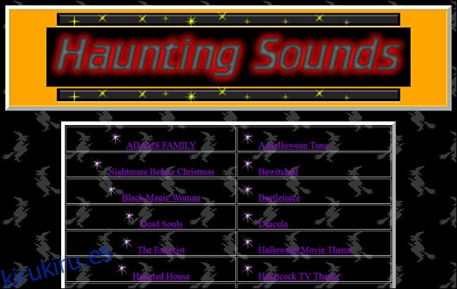 Enlaces a canciones de Halloween en el sitio web de Haunting Sounds.