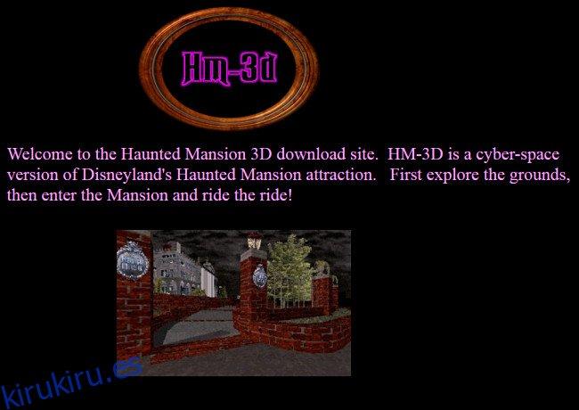 El sitio web de HM-3D con un mapa del paseo de Disney Haunted Mansion en GeoCities.