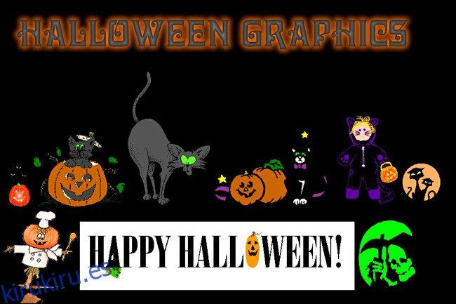 Un sitio web de Halloween Graphics en GeoCities.