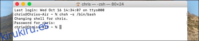 Cómo cambiar el shell predeterminado a Bash en macOS Catalina