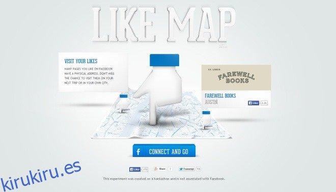 Busque las páginas de Facebook que le gustaron y tenga una dirección física en un mapa