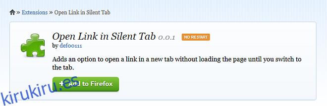La pestaña silenciosa retrasa la carga de la página en Firefox hasta que cambia a la pestaña