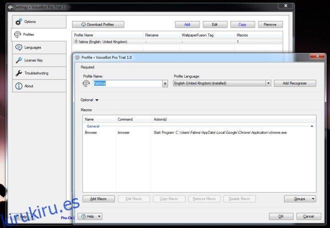 Utilice comandos de voz para iniciar aplicaciones y ejecutar scripts [Windows]