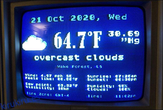 La pantalla de estado Weather.xex en un Atari 800XL.