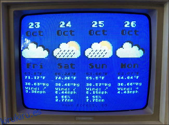 Una previsión meteorológica de cuatro días en un Atari 800.