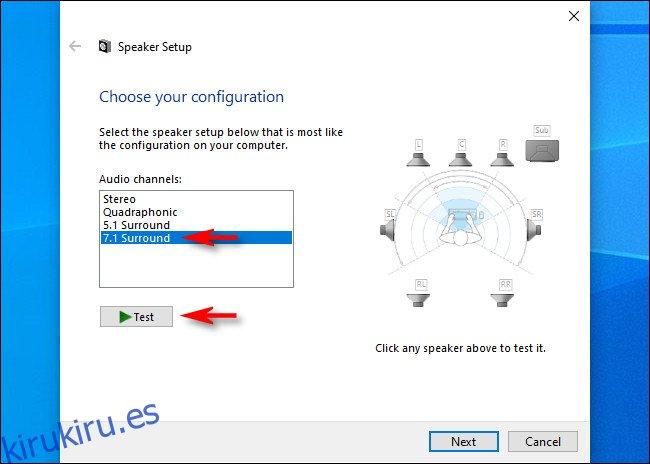 En Configuración de altavoces para Windows 10, seleccione los canales de audio y haga clic en
