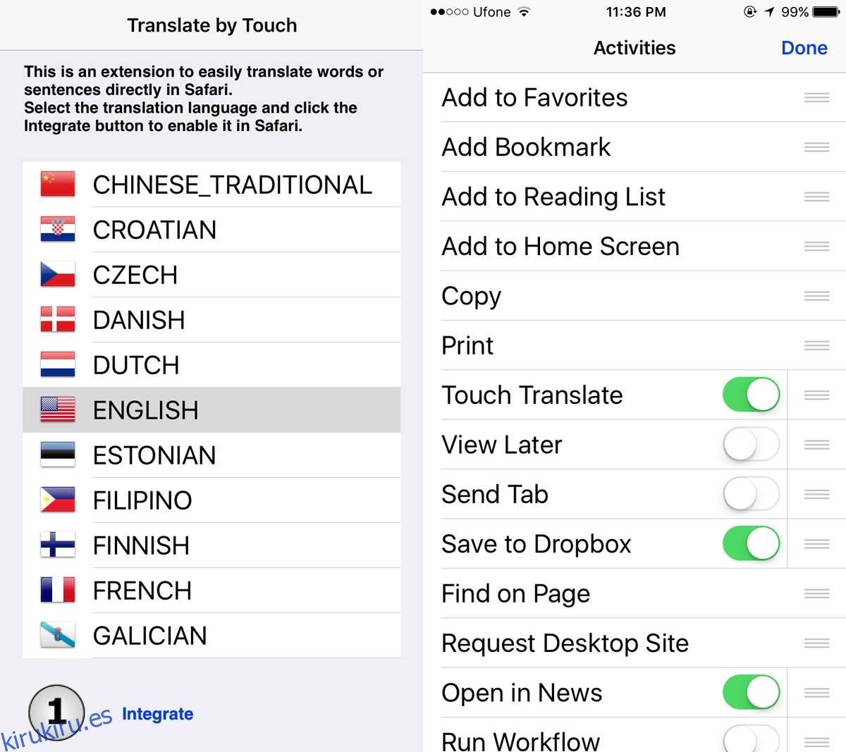 Cómo traducir palabras directamente en Safari