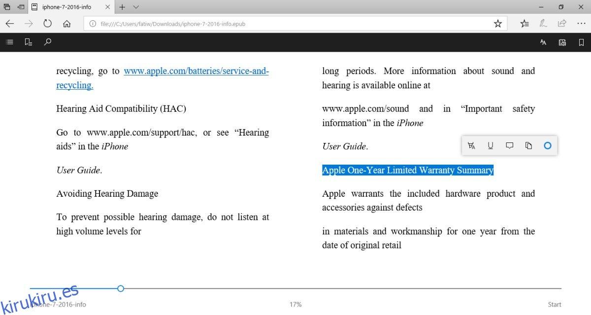 Cómo resaltar texto y agregar notas a archivos ePub en Microsoft Edge