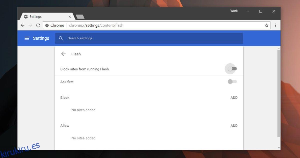 Cómo habilitar Flash de forma selectiva para sitios web en Chrome