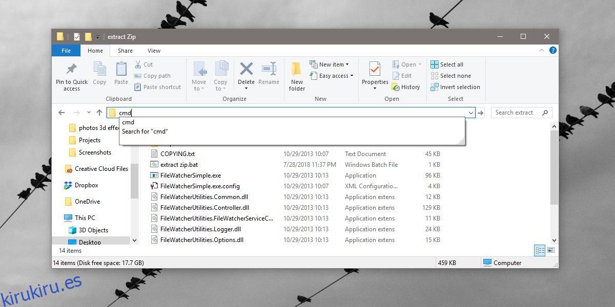 Cómo abrir una ventana de símbolo del sistema en el Explorador de archivos en Windows 10