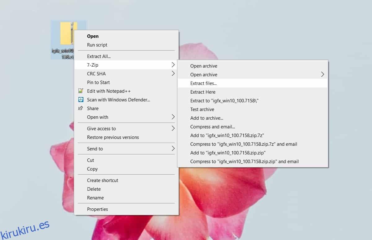 Cómo elegir dónde extraer un archivo en Windows 10