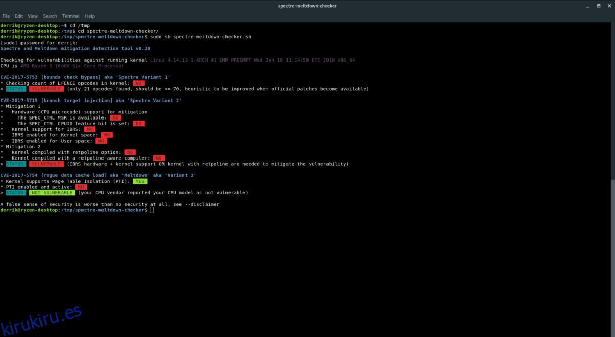 Compruebe si es vulnerable a Meltdown y Spectre en Linux