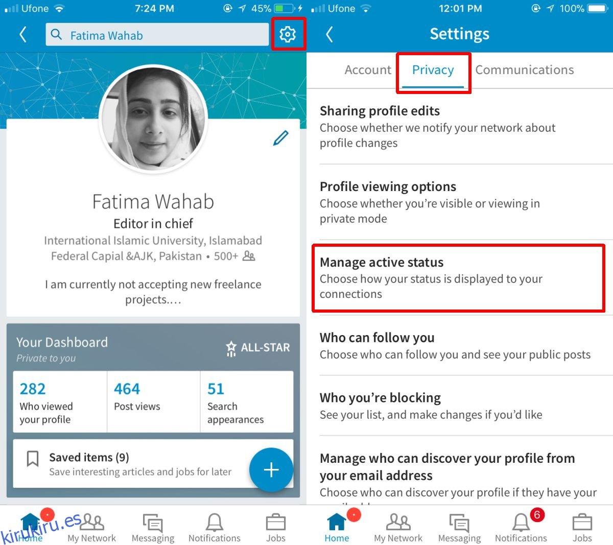 Cómo cambiar su estado activo en LinkedIn