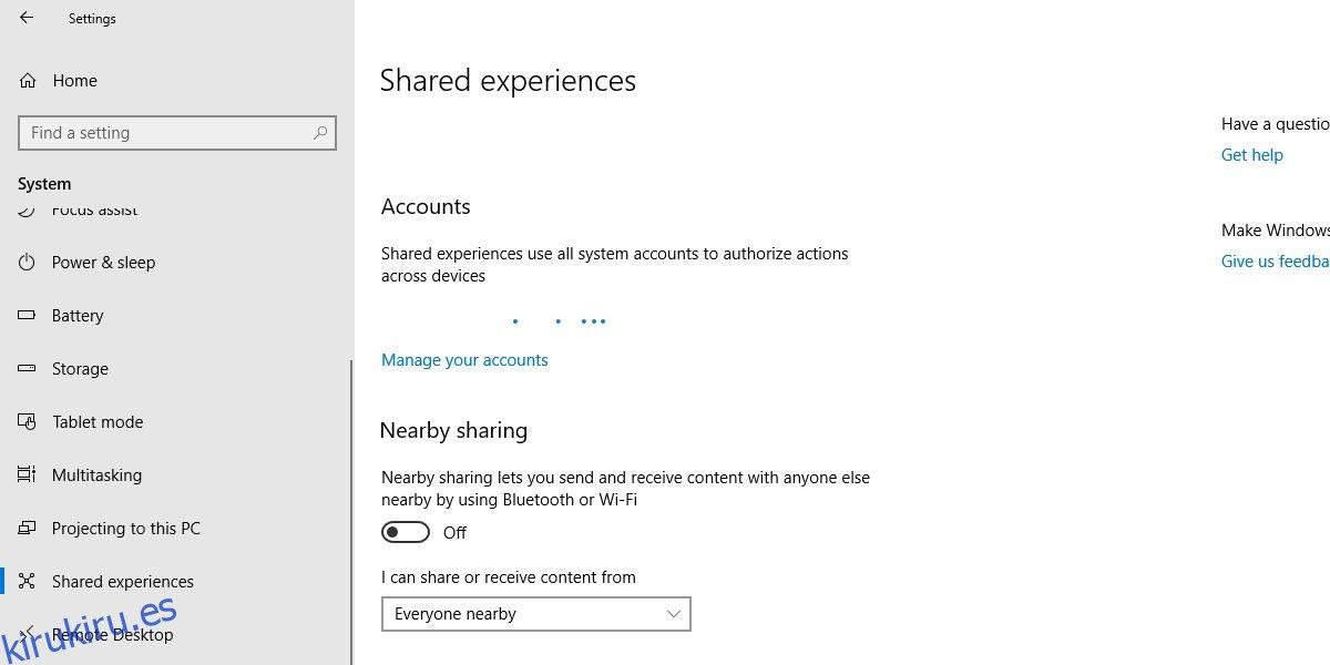 Cómo desactivar el uso compartido cercano en Windows 10