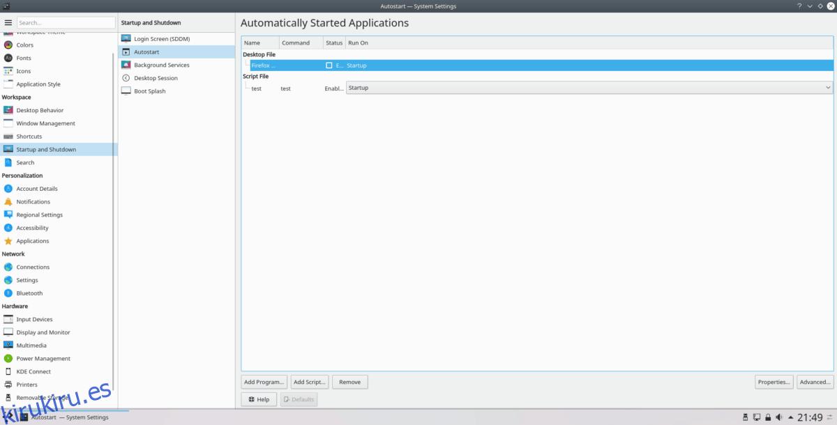Cómo iniciar programas automáticamente en KDE Plasma 5