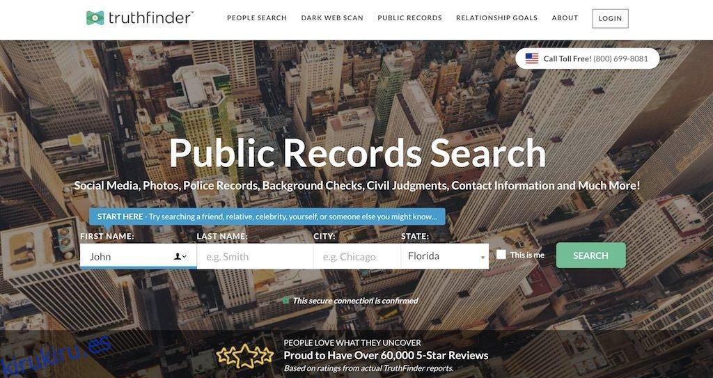 Truthfinder páxina de inicio