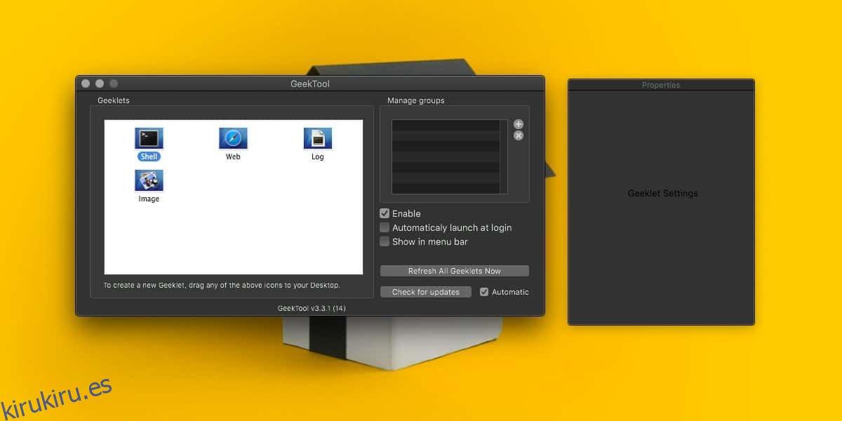 Cómo arreglar la ventana de Propiedades vacía para GeekTool en macOS