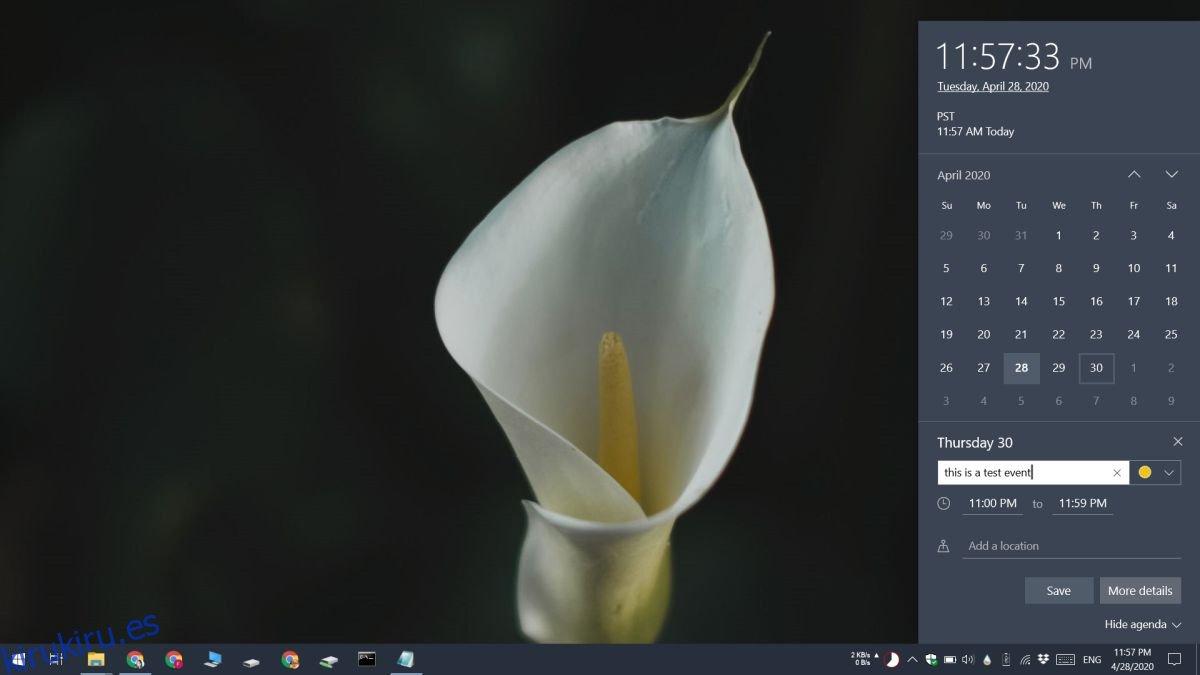 Cómo agregar eventos al calendario de Windows 10